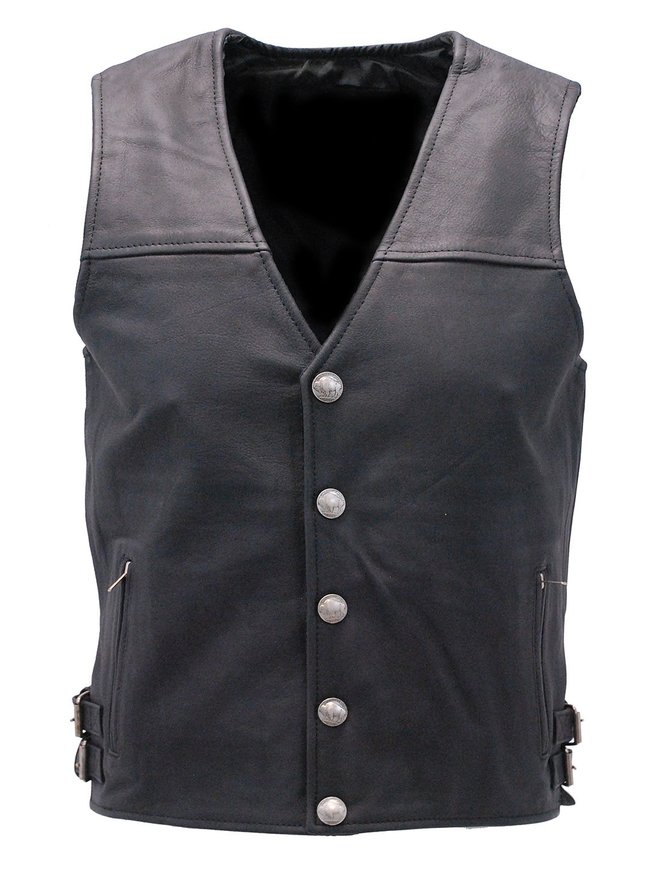Premium Naked Leather Vest with Buffalo Nickel Snaps #VM6031NIK