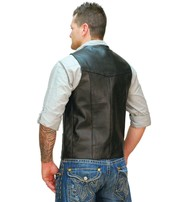 Tall Cowhide Leather Biker Vest #VM604T
