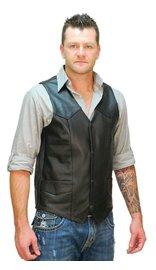 Tall Cowhide Leather Biker Vest #VM604T