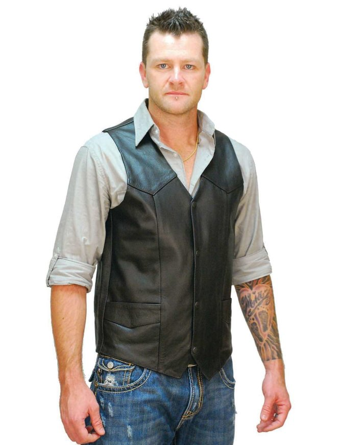 Tall Cowhide Leather Biker Vest #VM604T - Jamin Leather™