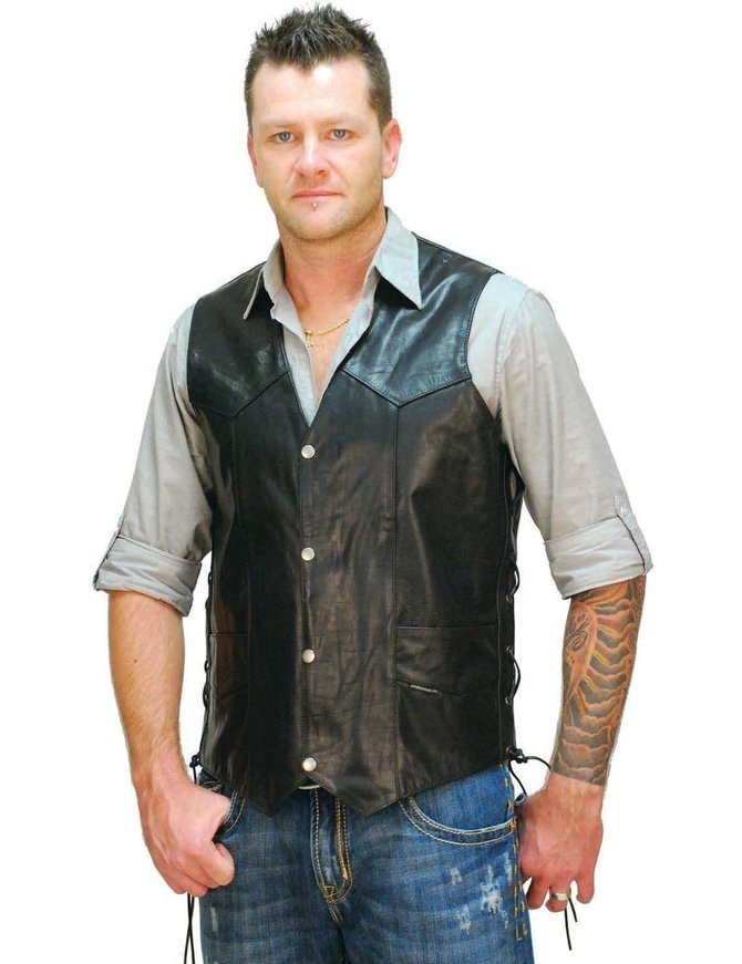 Big & Tall Leather Vest w/Side Lacing #VM605LT