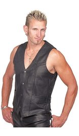 TALL Side Lace Leather Biker Vest w/CCW Pocket #VM606LTSP
