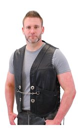 Jamin Leather Heavy Leather Motorcycle Vest w/Chain #VM616CC (L-2X)