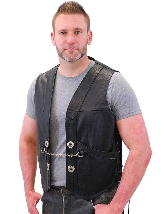Jamin Leather Heavy Leather Motorcycle Vest w/Chain #VM616CC