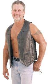 Men's Premium Leather Biker Vest - w/CCW Pockets #VM630PT