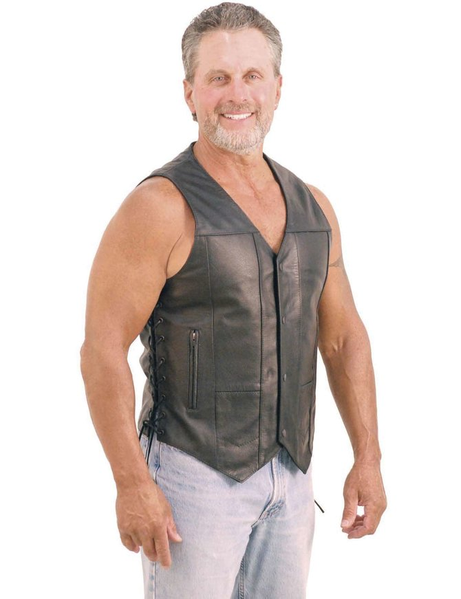 Men's Premium Leather Biker Vest - w/CCW Pockets #VM630PT