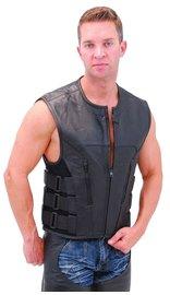 Triple Side Strap Leather CCW Club Vest w/No Collar & 1 Piece Back #VM645CSL