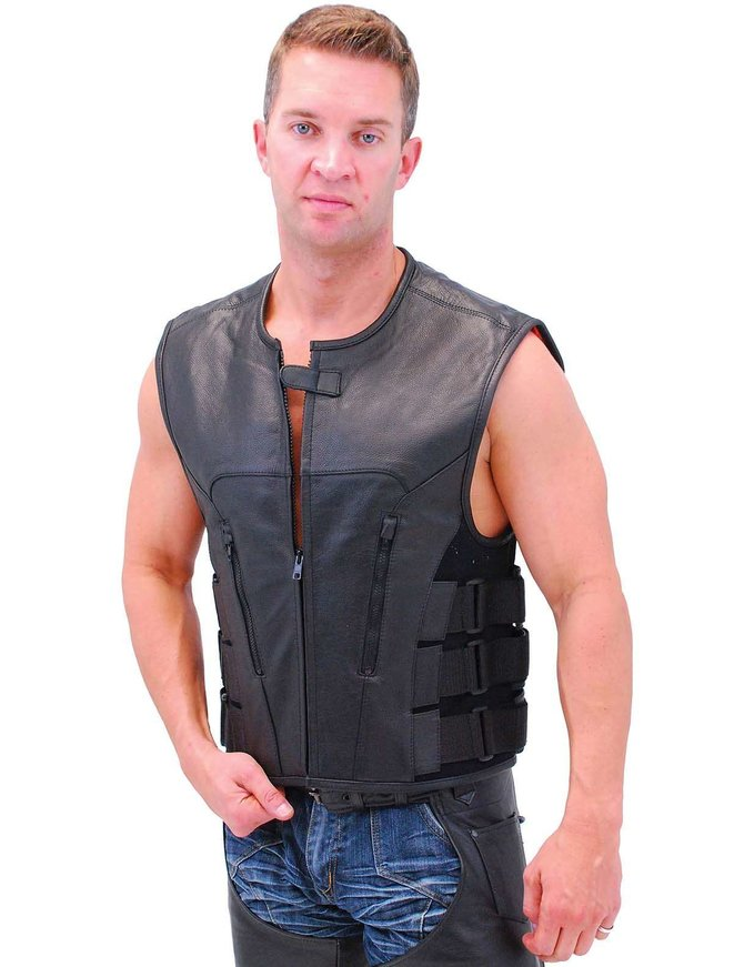 Triple Side Strap Leather CCW Club Vest w/No Collar & 1 Piece Back #VM645CSL