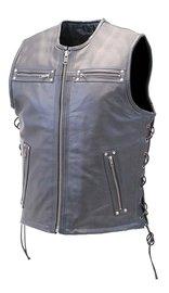 Men's Premium Riveted Leather CCW Club Vest #VM648GZLK (S-M)