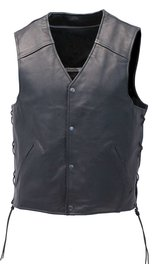 Unik Straight Bottom Leather Club Vest w/Dual CCW Pockets #VM6650LGK