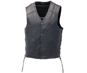 Milwaukee Leather Mens Straight Bottom Side Lace Black Leather Vest 2X-Large