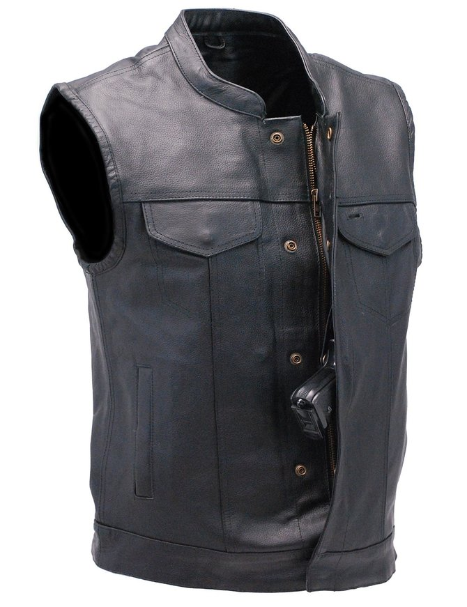 Unik Premium Buffalo Leather Snap & Zip CCW Vest #VM6655GK