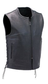 Unik Collarless and Seamless Naked Cowhide Leather CCW Vest #VM6710GLK