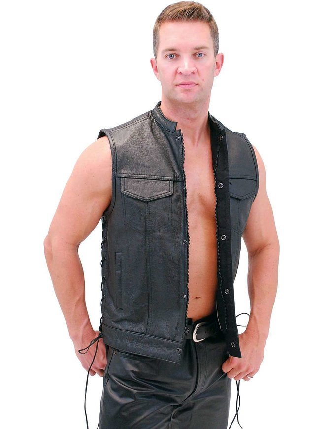 Men's Side Lace Buffalo Leather CCW Club Vest w/1 Piece Back #VM685BSF