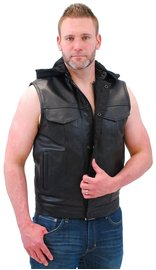 Men's Leather Club Vest w/Dual CCW Pockets & Removable Hood #VM687HGK