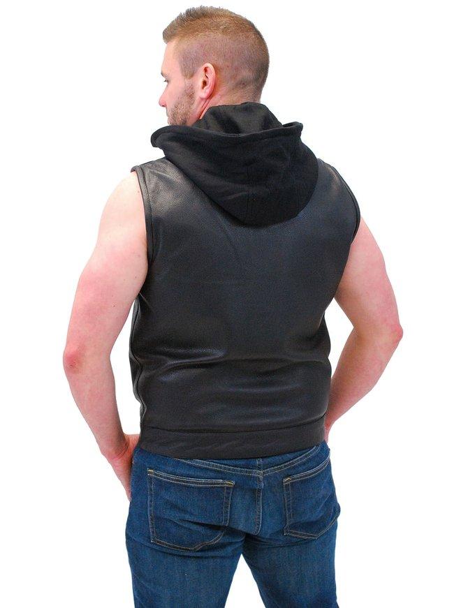 Men's Leather Club Vest w/Dual CCW Pockets & Removable Hood #VM687HGK
