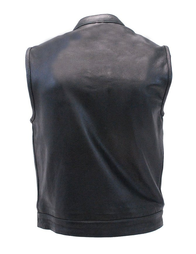 Soft Naked Leather Snap & Zip CCW Club Vest w/1 Piece Back #VM689NOC