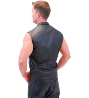 Men's Snap & Zip Buffalo Leather CCW Club Vest w/1 Piece Back #VM690GZK