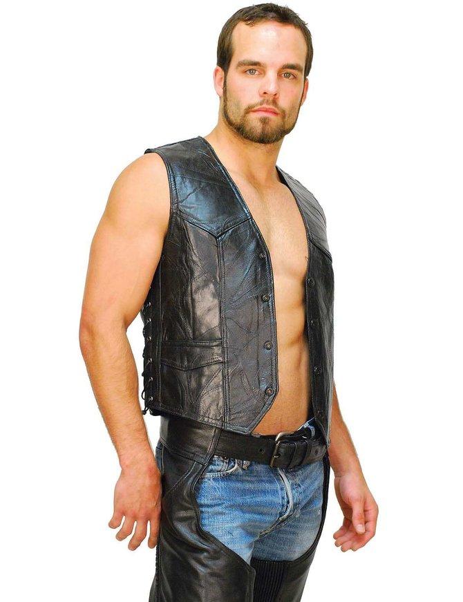 Classic Patch Leather Side Lace Biker Vest #VM718LPK