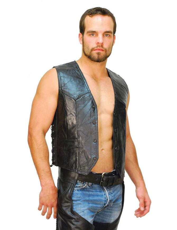 Classic Patch Leather Side Lace Biker Vest #VM718LPK