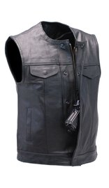 Unik Collarless Premium Buffalo Leather Snap & Zip CCW Vest #VM7410GK