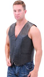 Premium Buffalo Leather Motorcycle Biker Vest #VM802K