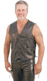 Men's Premium Buffalo Leather Vest w/Side Lacing #VM803LK