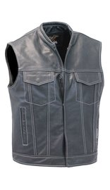 Jamin Leather Men's White Stitch Black Leather CCW Club Vest w/1 Piece Back #VM904GNWK (M-2X)