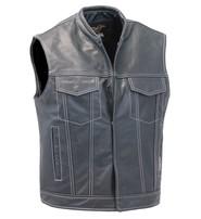 Jamin Leather Men's White Stitch Black Leather CCW Club Vest w/1 Piece Back #VM904GNWK