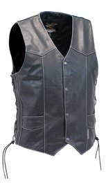 Jamin Leather Men's White Stitch Side Lace Leather CCW Vest w/1 Piece Back #VM905LGNWK (M-3X)