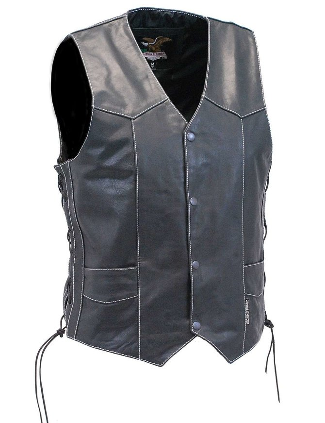 Jamin Leather Men's White Stitch Side Lace Leather CCW Vest w/1 Piece Back #VM905LGNWK