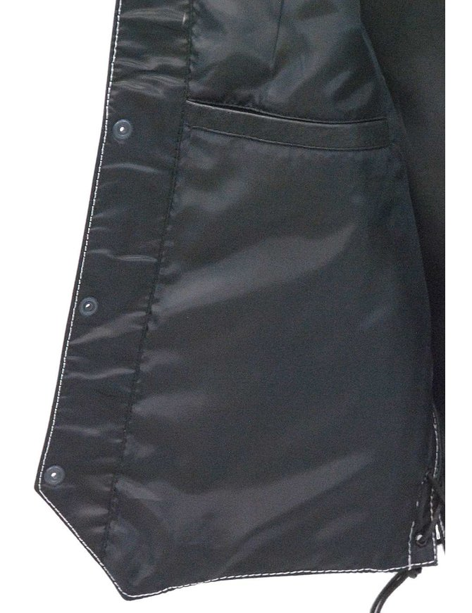 Jamin Leather Men's White Stitch Side Lace Leather CCW Vest w/1 Piece Back #VM905LGNWK