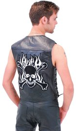 Skull Patch Leather Biker Vest #VM908SK (M-3X)