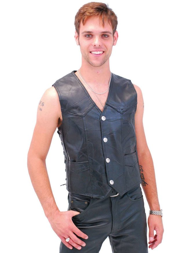 Skull Patch Leather Biker Vest #VM908SK