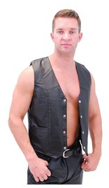 Classic Biker Leather Vest - Lightweight #VM950PK