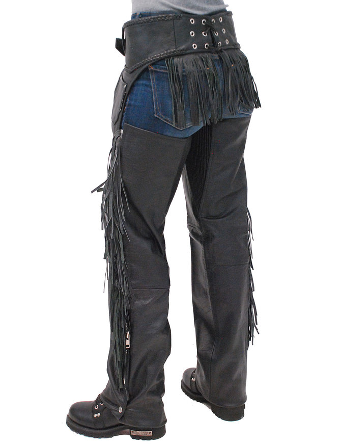 Jamin Leather Rear Fringed Western Chaps w/Elastic Thigh #C1116EF