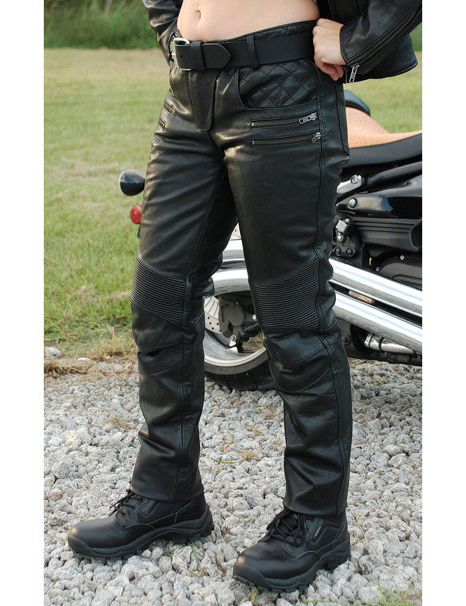 First MFG Women's Premium Naked Cowhide Leather Riding Pants #LP0711ZZK