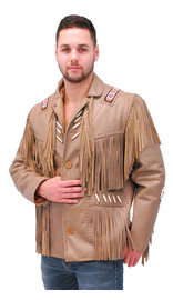 Jamin Leather Western Brown Leather Jacket w/Fringe & Bone Beading #M2633BBFN (M-2X)