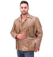 Jamin Leather Western Brown Leather Jacket w/Fringe & Bone Beading #M2633BBFN