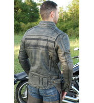 Vintage Gray Leather Motorcycle Jacket w/CCW Pockets & Venting #M6621VGGY