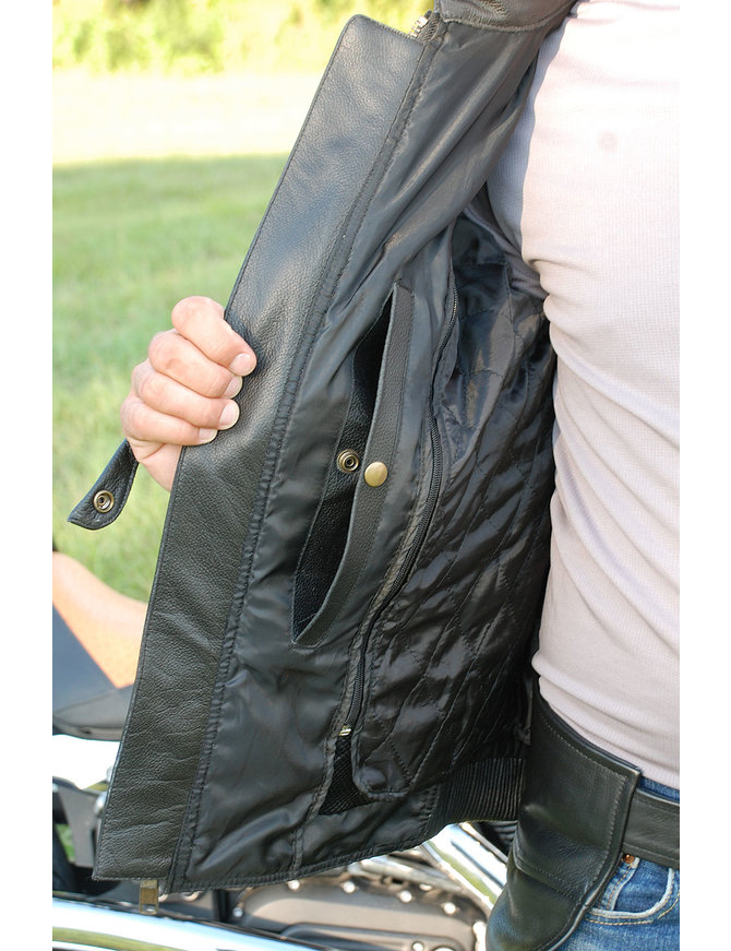 Men's Ultimate Black Racer Vented Motorcycle Jacket w/CCW Pockets #M6633RVZK