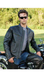 Men's Ultimate Black Racer Vented Motorcycle Jacket w/CCW Pockets #M6633RVZK