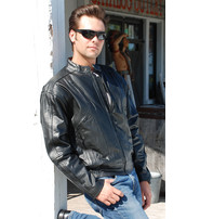 Black Vented Leather Bomber Jacket #M11016VZ