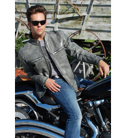 Jamin Leather Men's Hand Painted Vintage Gray Vented Scooter Jacket w/CCW #MA803VZGGY