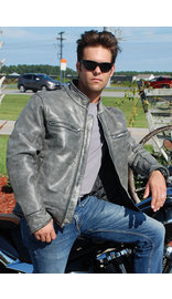 Jamin Leather Men's Hand Painted Vintage Gray Vented Scooter Jacket w/CCW #MA803VZGGY (M-2X)