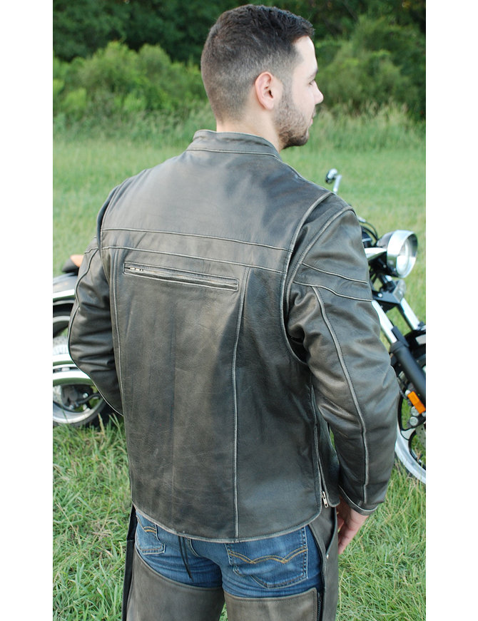 Jamin Leather Vintage Brown Leather Vented Motorcycle Jacket - Scooter Style #MA4170ZDN
