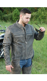 Jamin Leather Vintage Brown Leather Vented Motorcycle Jacket - Scooter Style #MA4170ZDN (M-3X)