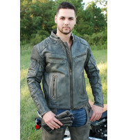 Jamin Leather Men's Ultimate Vintage Gray Vented Racer Jacket w/CCW Pockets #MA6633VZGY