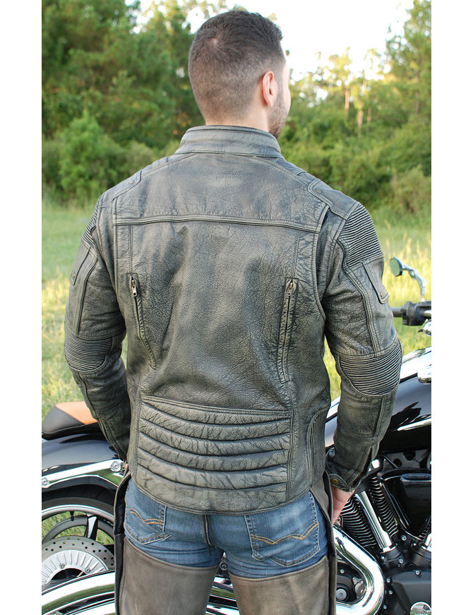 Men's Ultimate Vintage Gray Vented Racer Jacket w/CCW Pockets #MA6633VZGY