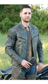 Jamin Leather Men's Ultimate Vintage Gray Vented Racer Jacket w/CCW Pockets #MA6633VZGY (S-5X)